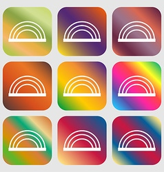 Rainbow icon Nine buttons with bright gradients vector