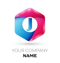 Realistic letter j in colorful hexagonal vector