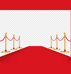 Red carpet and golden barriers realistic isolated vector