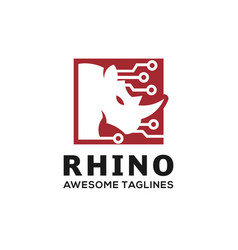 Rhino techno logo vector