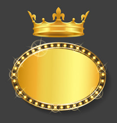 royal crown and golden frame empty banner vector image