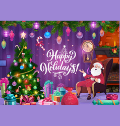 santa christmas fireplace and new year gifts vector image