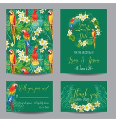 Save the Date Card - Tropical Flowers and Birds vector image