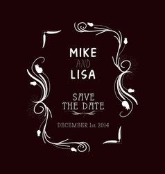 Save the date Vintage frames and Floral Ornaments vector