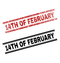 Scratched textured and clean 14th of february vector