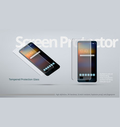 Screen protector tempered transparent glass ad vector