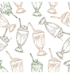Seamless pattern scetch of three types milkshake vector
