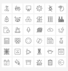 Set 36 simple line icons for web and print vector