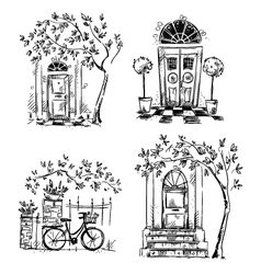 set architecture details drawings vector image