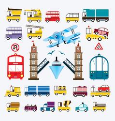 set cars with a bridge vector image
