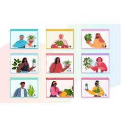 set mix race people taking care houseplants vector image