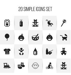 Set of 20 editable infant icons includes symbols vector