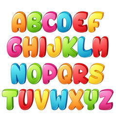 Set of colorful alphabets letter on a white backgr vector