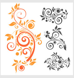 set of floral elements for design vector image