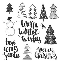 set of hand drawn christmas vector image