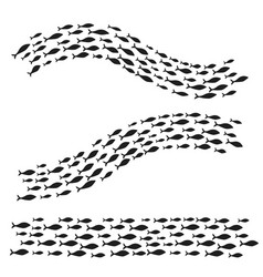 Set silhouettes of groups of sea fishes colony of vector