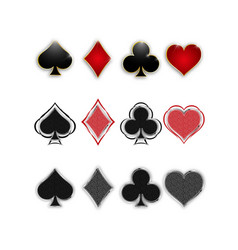 Set symbols deck cards for playing poker vector