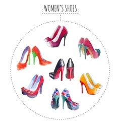 Seven pairs of womens shoes vector