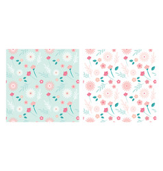 simple seamless flower patterns can be used vector image