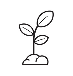 spring seedling sprout icon in line art vector image