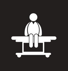 Stylish black and white icon man on stretcher vector