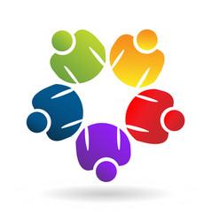 teamwork people working together logo vector image