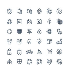 Thin line icons set with environmental and vector