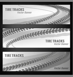 Tire track banners vector