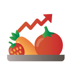 Tray with fruits and vegetables price hike arrow vector