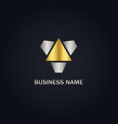 triangle gold logo vector image