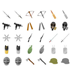 types of weapons cartoonmonochrom icons in set vector image
