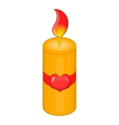 Valentine day candle icon cartoon style vector