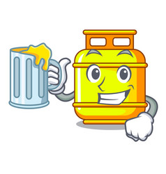 With juice creative in gas cartoon tank container vector