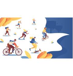 women doing sport at summer park landing page vector image