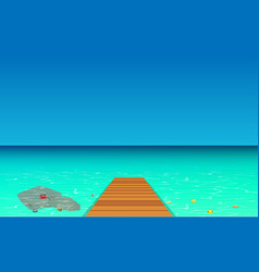 Wood walkways with clear water at beach vector