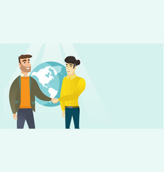 Young multiracial business partners shaking hands vector