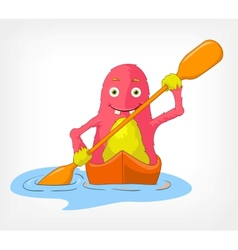 Funny Monster Kayaker vector image vector image