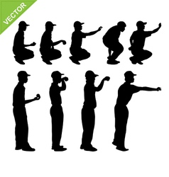 Petanque player silhouettes vector image