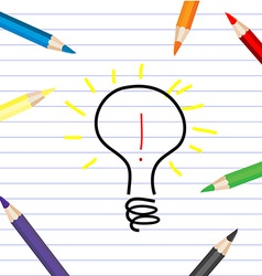 Stylized bulb sketching on a white sheet with vector image