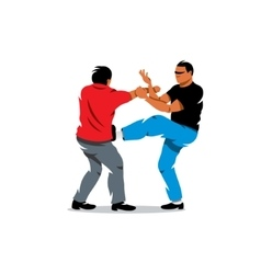 Wing Chun kung fu sparring Cartoon vector image vector image