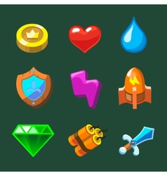 Cartoon icons set for game vector image vector image