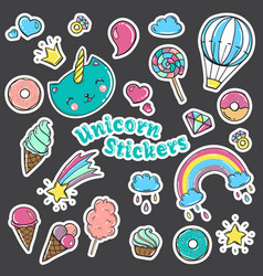 fashion patch badges in 80s-90s style vector image