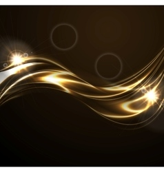 Golden liquid smooth waves on black background vector image