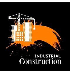 Grunge items with tower crane vector image