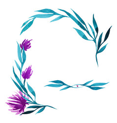 hand drawn watercolor flower wreath in vector image vector image
