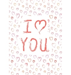 I love you card with pink heards vector image vector image