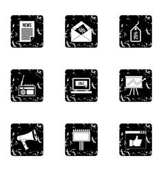 Marketing icons set grunge style vector image