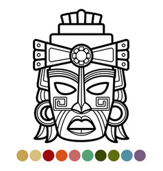 mexican african aztec mask coloring page vector image vector image