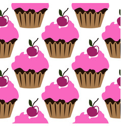 pink cream cupcake with cherry seamless pattern vector image