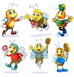 A group of happy bees vector image vector image